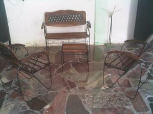 Muebles De Hierro Forjado Y Madera Para Jardín