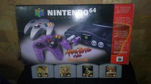 Nintendo 64 Con Su Caja, 4 Juegos Y Un Control (leer Descrip