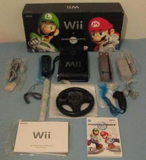 Nintendo Wii Negro Con Mario Kart Original