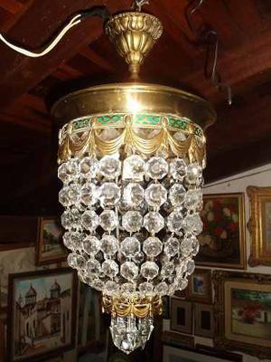 Lampara Antigua De Bronce Con Cristal De Bohemia Tallado En