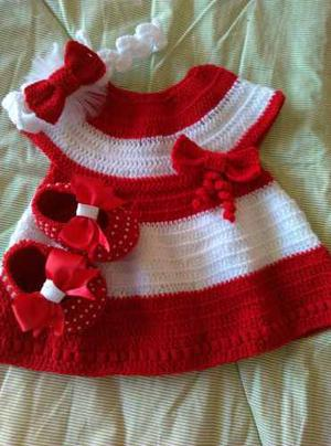 Vestido Tejido A Crochet De 0 A 3 Meses
