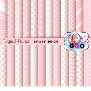 Kit Imprimible Fondos Rosa Pastel Blanco Baby Shower Cumples