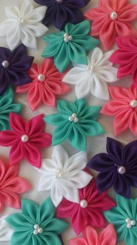 Flores De Tela... Lazos, Cintillos, Manualidades, Apliques