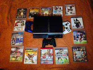 Playstation 3 Con 13 Juegos Y 3 Controles