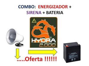 Energizador Cerco Hydra - ** Combo** Sirena Y Bateria