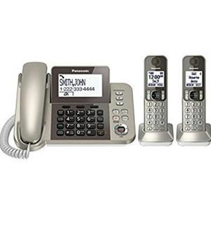 Teléfono Fijo Panasonic Con 2 Teléfonos Inalámbricos