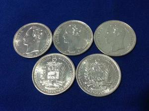 Impecables Monedas De Plata Ley 835 De 2 Bolivares