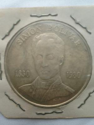Moneda De Plata Simon Bolivar  Bolivares.