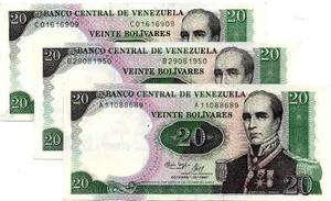 Set De 03 Billetes De 20 Bs Conmemorativos A,b Y C