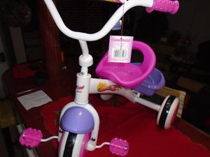 Triciclo Para Niñas Color Rosado Y Blanco Super Star