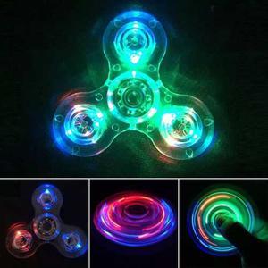 Fidget Spinner Transparente Con Led