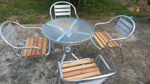 Juego De Sillas Y Mesa En Aluminio Para Piscina Jardin Rest