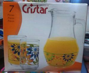 Cristar Juego De Jarra Y 6 Vasos