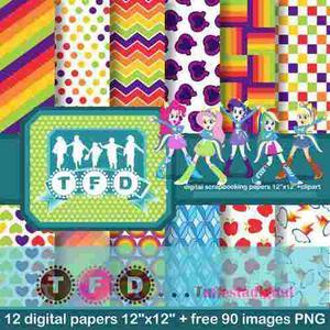 Kit Imprimible Fondos Equestria Girls Papel Digital Clipart