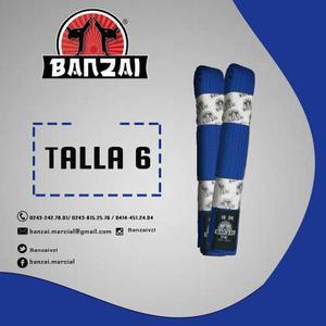 Cinturón De Artes Marciales Azul, Talla 6, Banzai