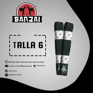 Cinturón De Artes Marciales Negro, Talla 6, Banzai