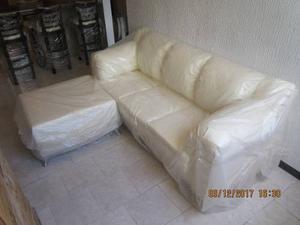 Mueble Sofa 3 Puestos Semicuero Beige Bipiel Mas Chaise Long