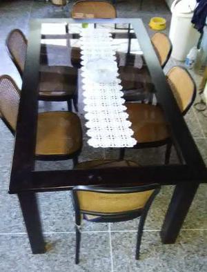 Vendo Mesa Comedor 6 Puestos Con Sus 6 Sillas