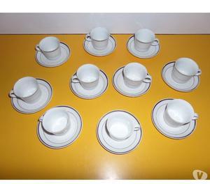 Venta de Juego de Tazas de Porcelana con borde de Plata