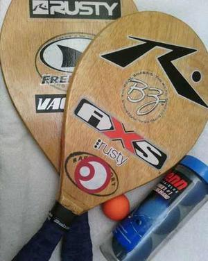 Raquetas Playeras De Madera
