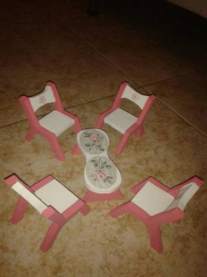 Accesorios (sillas Y Muebles) Para Casa De Muñeca En Mdf