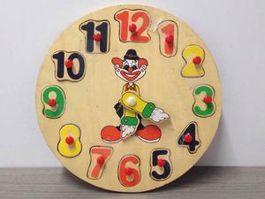 Juguete Reloj Didáctico Y Rompecabeza De Madera