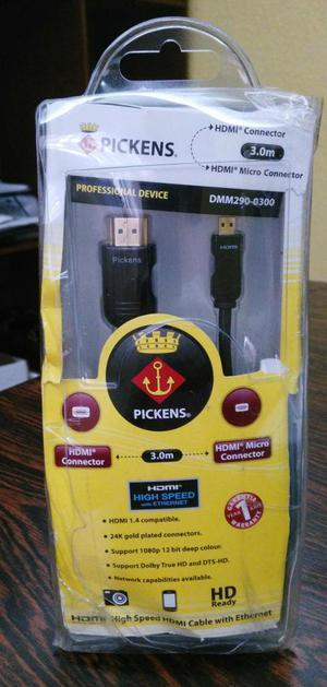 CABLE MICRO HDMI A HDMI 3 MTS DE LARGO ENCHAPADO EN ORO 24K