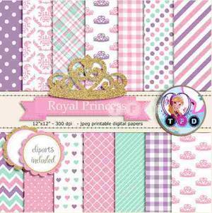 Kit Imprimible Princesa Tiara Dorada Fondos Clipart Y Frame