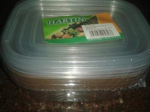 Set De 4 Envases Plasticos Con Tapa O Vianda Para Alimentos