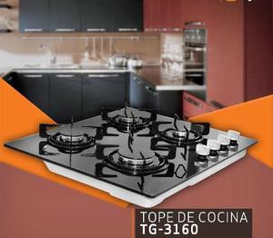 Tope De Cocina 4 Hornillas A Gas 60cm Vitroceramica De Lujo