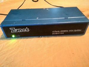 Amplificador De Video Zonet 4 Puertos 400 Mhz Vga Splitter