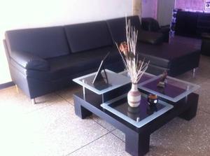 Juego De Muebles Recibo Sofa Modular Premium De Cuero + Mesa