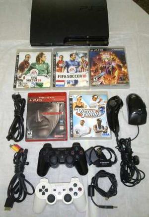Playstation 3 Slim (ps3) De 250 Gb Chipeado + 2 Controles +