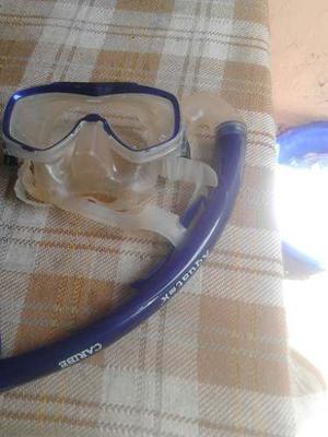 Kit De Buceo Chapaletas(),snorkel Y Mascara Aquatek