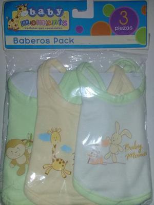 Set De Baberos Para Bebe 3 Piezas De 0 A 3 Meses