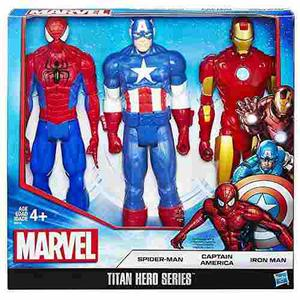 Titan Hero Serie 3 Pack Capitan America- Spiderman- Iron Man