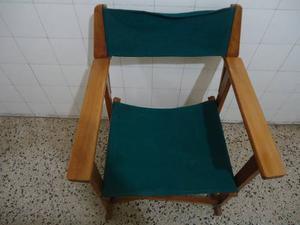 Silla Plegable De Madera Y Lona, Tipo Director Como Nueva.