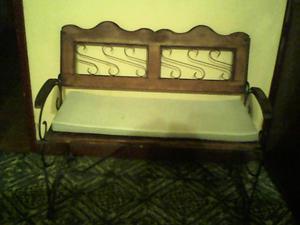 vendo juego de mueble de hierro forjado y madera