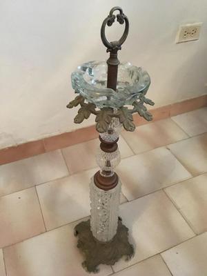 Cenicero de cristal y bronce