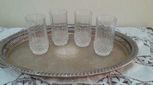 Juego De 4 Vasos De Cristal Tallado