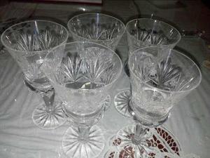 Juego De 5 Copas De Cristal Bohemia Talladas Tipo Diamante