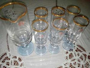 Juego De Jarra Y 6 Vasos De Cristal Bohemia Con Borde De Oro