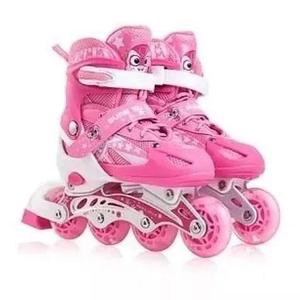 Bellos Patines Lineales Rosado Con Luces + Kit De