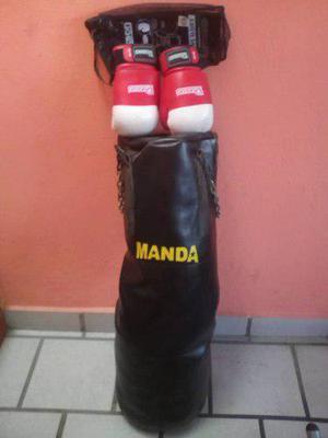 Combo Saco De Boxeo Marca Manda + Guantes De Boxeo