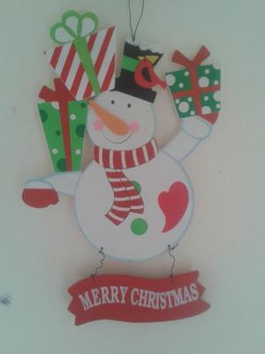 Letrero En Madera Navidad. Muñeco De Nieve Adornos