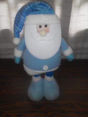 Muñeco De Navidad, Santa De Peluche Color Azul