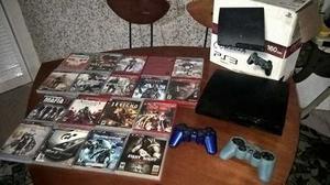 Playstation3 Ps3 Con 2 Controles Y 19 Juegos