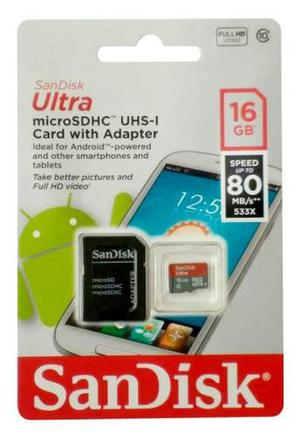 Memoria Micro Sd 16gb Sandisk Ultra Clase 10 Android Uhs-i