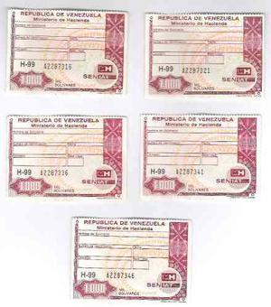 Timbres Fiscales De  Bolívares Diferentes Serie A