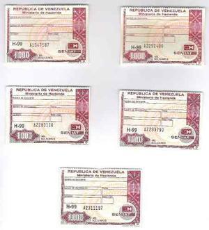 Timbres Fiscales De  Bolívares Serie A Números Difere
